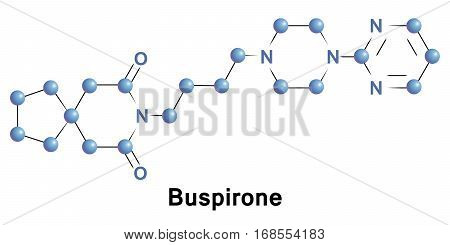 Buspirone is an anxiolytic psychotropic drug of the azapirone chemical class. It is primarily used to treat generalized anxiety disorder