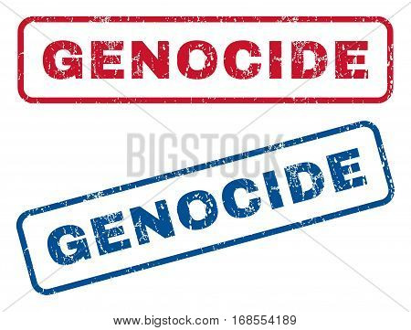 Genocide text rubber seal stamp watermarks. Vector style is blue and red ink tag inside rounded rectangular shape. Grunge design and dirty texture. Blue and red stickers.