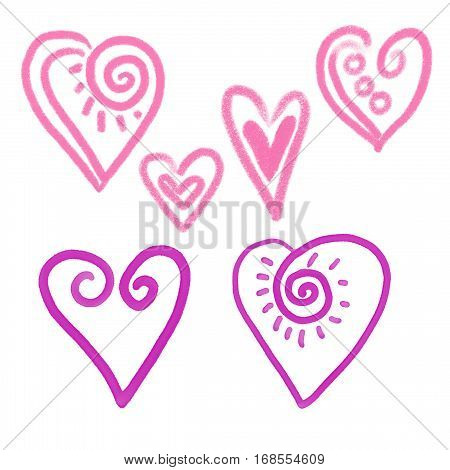 Set of hand drawn abstract hearts. Design elements. Grunge hearts logo.