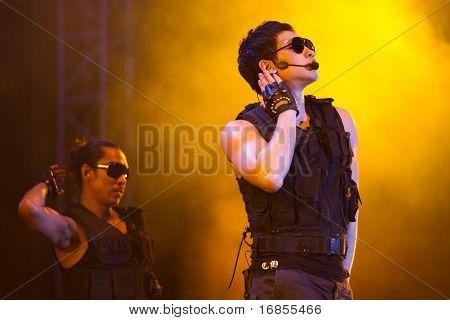 Korean Kpop superstar Rain performs in a concert