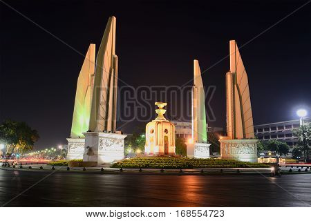 BANGKOK, THAILAND - DECEMBER 11, 2016: Democracy Monument in the night landscape