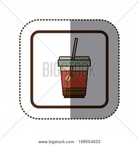 color sticker silhouette in square frame with disposable glass of cappuccino and straw vector illustration