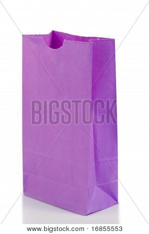 Angled Purple Paper Bag