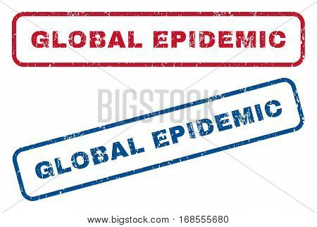 Global Epidemic text rubber seal stamp watermarks. Vector style is blue and red ink caption inside rounded rectangular shape. Grunge design and unclean texture. Blue and red emblems.
