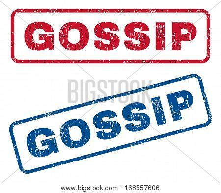 Gossip text rubber seal stamp watermarks. Vector style is blue and red ink tag inside rounded rectangular shape. Grunge design and dirty texture. Blue and red signs.