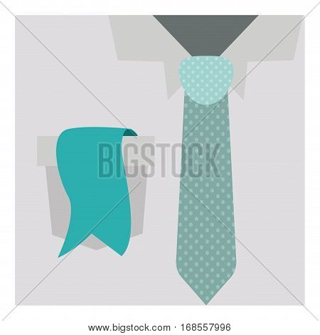 close up formal shirt with dotted necktie and label in pocket vector illustration