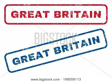 Great Britain text rubber seal stamp watermarks. Vector style is blue and red ink tag inside rounded rectangular banner. Grunge design and dust texture. Blue and red emblems.
