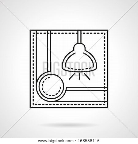 Abstract symbol for sport games and recreation. Corner of pool table and illuminated lamp - lighting equipment for billiards. Flat black line vector icon.