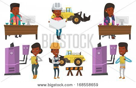 African-american young plumber making some notes in his clipboard. Young plumber at work. Plumber in overalls holding clipboard. Set of vector flat design illustrations isolated on white background.