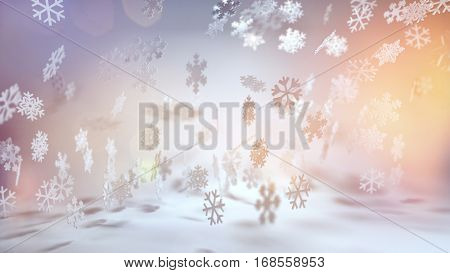 Decorative Christmas seasonal background with snow and a variety of falling snowflakes lit by the glow of the morning sun in a cold winter landscape. 3d rendering