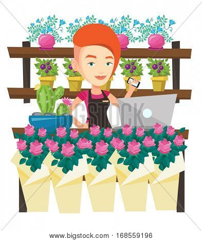 Young florist using phone and laptop to take order. Florist standing behind the counter at flower shop. Woman working in flower shop. Vector flat design illustration isolated on white background.