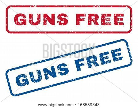 Guns Free text rubber seal stamp watermarks. Vector style is blue and red ink tag inside rounded rectangular banner. Grunge design and unclean texture. Blue and red emblems.