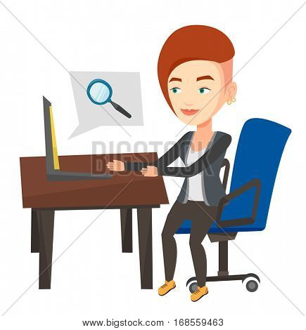 Young caucasian business woman working on a laptop in office and searching information on internet. Internet search and job search concept. Vector flat design illustration isolated on white background