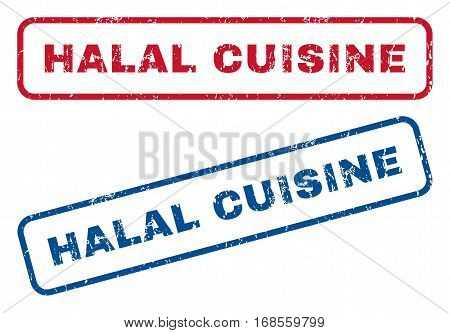 Halal Cuisine text rubber seal stamp watermarks. Vector style is blue and red ink caption inside rounded rectangular shape. Grunge design and unclean texture. Blue and red signs.