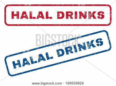 Halal Drinks text rubber seal stamp watermarks. Vector style is blue and red ink caption inside rounded rectangular shape. Grunge design and scratched texture. Blue and red signs.