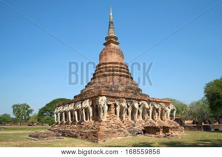 Chedi ancient Buddhist temple of Wat Sorasak in Sukhothai. Thailand