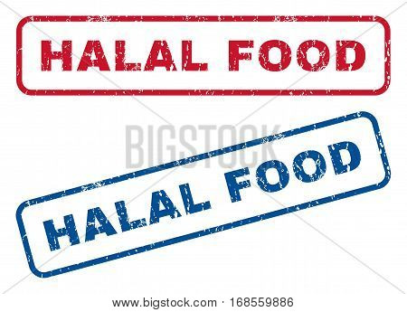 Halal Food text rubber seal stamp watermarks. Vector style is blue and red ink caption inside rounded rectangular shape. Grunge design and unclean texture. Blue and red stickers.