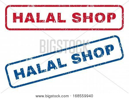 Halal Shop text rubber seal stamp watermarks. Vector style is blue and red ink tag inside rounded rectangular banner. Grunge design and dirty texture. Blue and red signs.