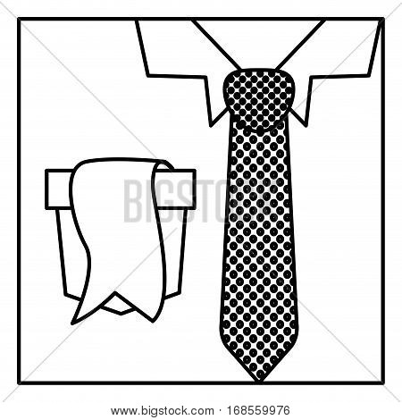 square border silhouette with close up formal shirt with dotted necktie and label in pocket