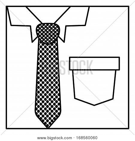 square silhouette close up formal shirt with dotted necktie vector illustration