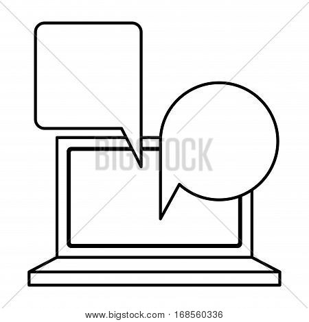 silhouette tech laptop screen with keyboard with dialogue callout box vector illustration