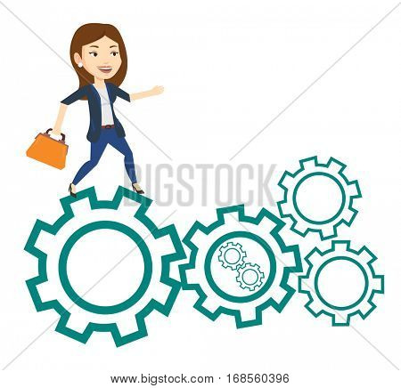Business woman running on cogwheels. Business woman running to success. Business woman running in a hurry. Concept of moving to success. Vector flat design illustration isolated on white background.