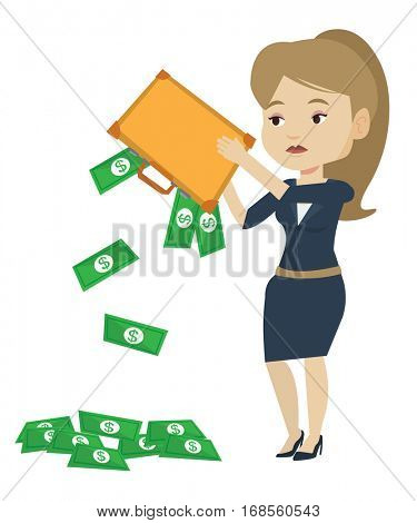 Depressed caucasian bankrupt shaking out money from briefcase. Despaired bankrupt business woman emptying a briefcase. Bankruptcy concept. Vector flat design illustration isolated on white background