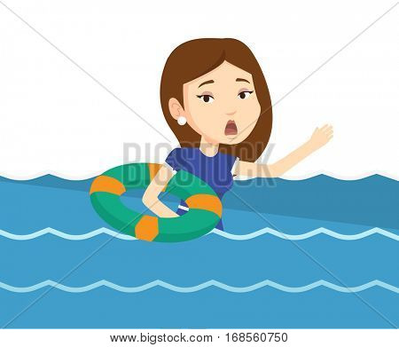 Frightened business woman sinking and asking for help. Business woman with lifebuoy sinking and waving. Concept of failure in business. Vector flat design illustration isolated on white background.