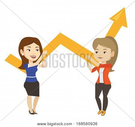Two caucasain business women holding growth graph. Cheerful business team with growth graph. Concept of business growth and teamwork. Vector flat design illustration isolated on white background.