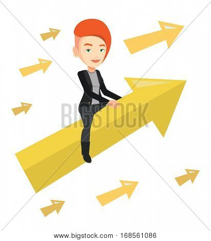 Business woman sitting on arrow going to success. Successful business woman flying up on arrow. Concept of moving to business success. Vector flat design illustration isolated on white background.