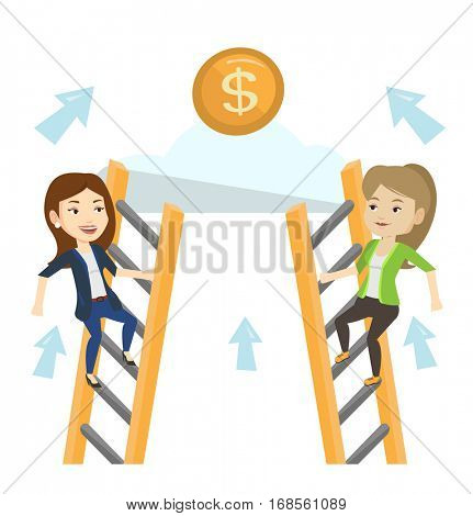 Two businesswomen competing for the money. Two competitive business women climbing the ladder on a cloud. Competition in business concept. Vector flat design illustration isolated on white background.