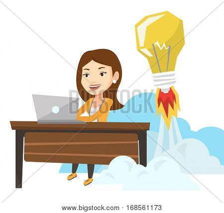 Business woman working on laptop in office and idea bulb taking off behind her. Businesswoman having business idea. Business idea concept. Vector flat design illustration isolated on white background