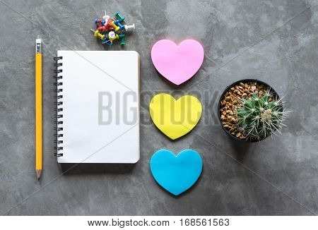 Notebook, Pencil, Paper Heart Against, Cactus On Cement Board View From Above.