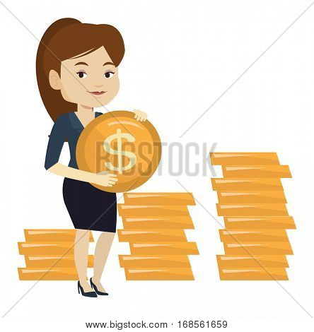 Caucasian successful business woman with dollar golden coin. Successful business woman holding golden coin. Business success concept. Vector flat design illustration isolated on white background.