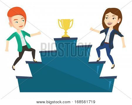Two businesswomen competing to get gold trophy. Two competitive businesswomen running up for the winner cup. Business competition concept. Vector flat design illustration isolated on white background.