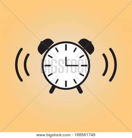 Alarm clock isolated vector sign. Alarm clock vector flat illustration. Wake up vector icon.