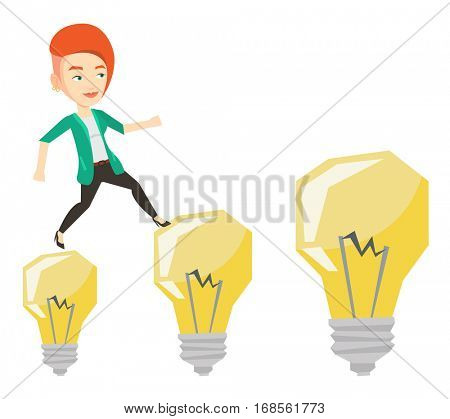 Smiling business woman hopping onto idea light bulbs. Caucasian cheerful business woman jumping on idea bulbs. Concept of business idea. Vector flat design illustration isolated on white background.