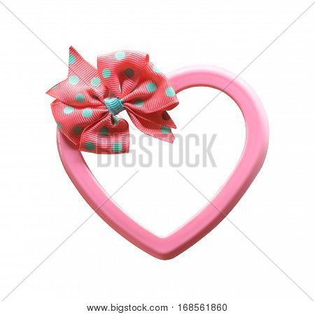 Cute Pink Heart Gift Box Isolated On White Background .