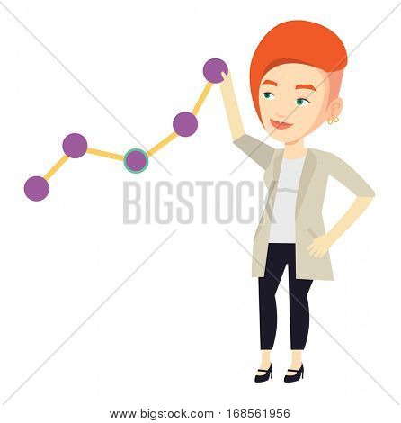 Young business woman looking at chart going up. Businesswoman lifting business chart. Caucasian businesswoman pulling up a business chart. Vector flat design illustration isolated on white background.