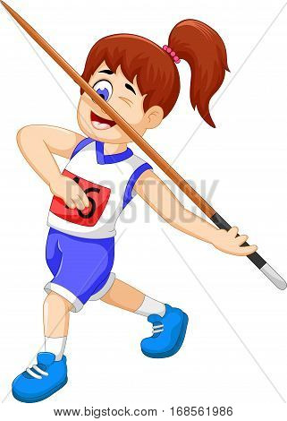 funny woman athlete throwing a javelin for you design