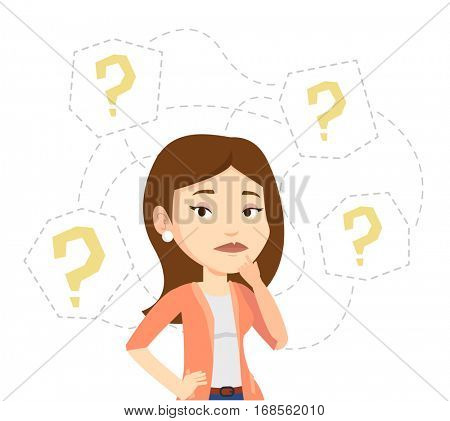 Thinking businesswoman standing under question marks. Young caucasian businesswoman thinking. Thinking woman surrounded by question marks. Vector flat design illustration isolated on white background.