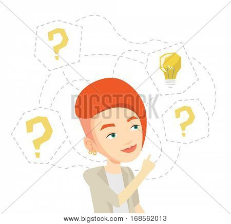 Caucasian businesswoman having business idea. Businesswoman standing with question marks and idea bulb above head. Business idea concept. Vector flat design illustration isolated on white background.