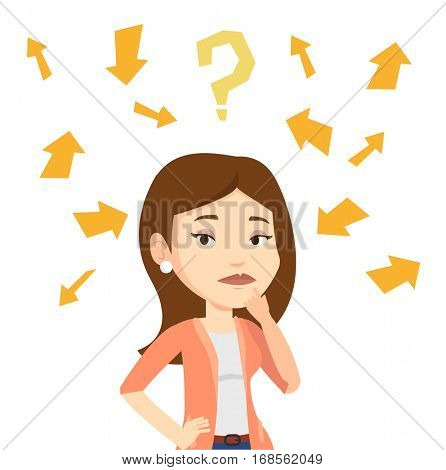 Businesswoman standing under question mark and arrows. Businesswoman thinking. Thoughtful woman surrounded by question mark and arrows. Vector flat design illustration isolated on white background.