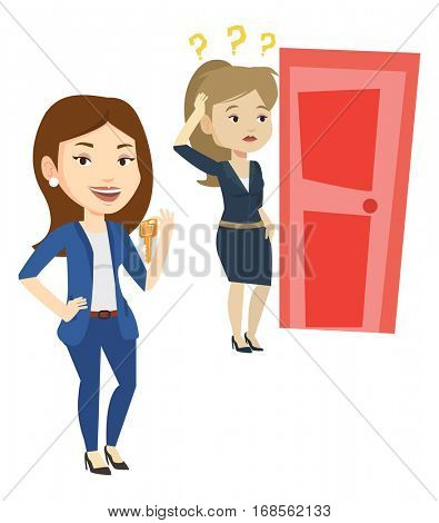 Caucasian businesswoman showing key on the background of young woman looking at door. Concept of making the right decision in business. Vector flat design illustration isolated on white background.