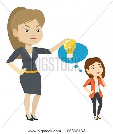Business woman giving idea to her partner. Young caucasian woman holding idea light bulb over head of her collegue. Business idea concept. Vector flat design illustration isolated on white background.