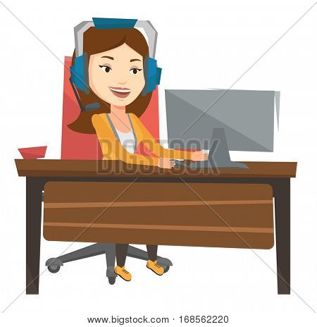 Young caucasian woman using computer for playing games. Cheerful woman in headphones playing online games. Woman playing computer game. Vector flat design illustration isolated on white background.