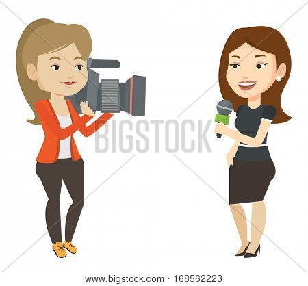 Caucasian female reporter with microphone presenting the news. Young operator filming reporter. Reporter and operator recording the news. Vector flat design illustration isolated on white background.
