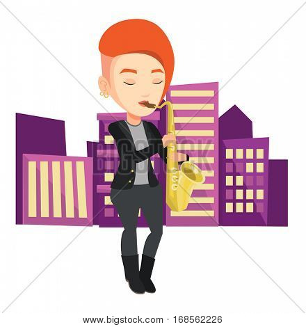 Pleased musician playing on saxophone. Caucasian woman with eyes closed playing on saxophone. Musician with saxophone in the city street. Vector flat design illustration isolated on white background.