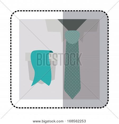 sticker colorful with close up formal shirt with dotted necktie and label in pocket vector illustration