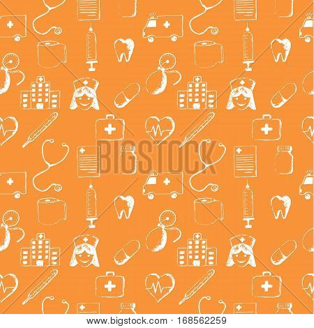 Orange seamless pattern-medical items. This illustration is drawn with a pencil.